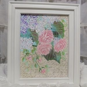 Shabby Chic PInk Roses Romantic Painting
